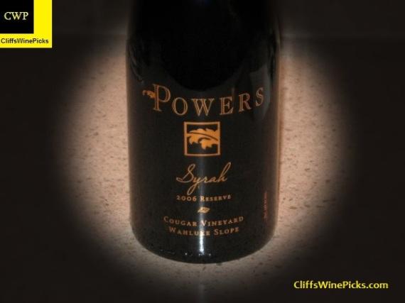 2006 Powers Syrah Reserve Cougar Vineyard Wahluke Slope