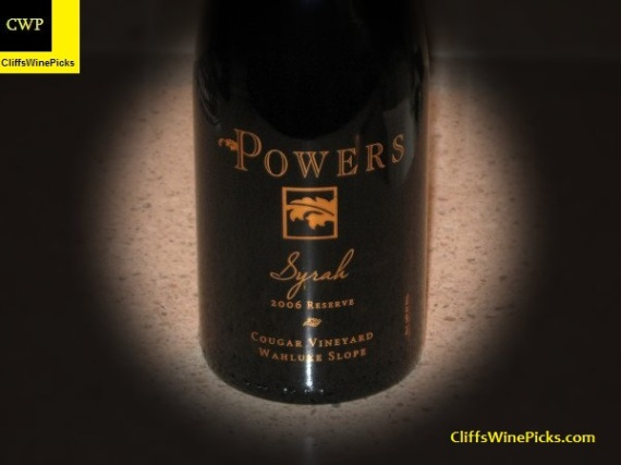 2006 Powers Syrah Reserve Cougar Vineyard Wahluke Slope
