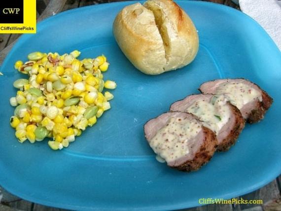 Pork Tenderloin and Corn-Lima Bean salad