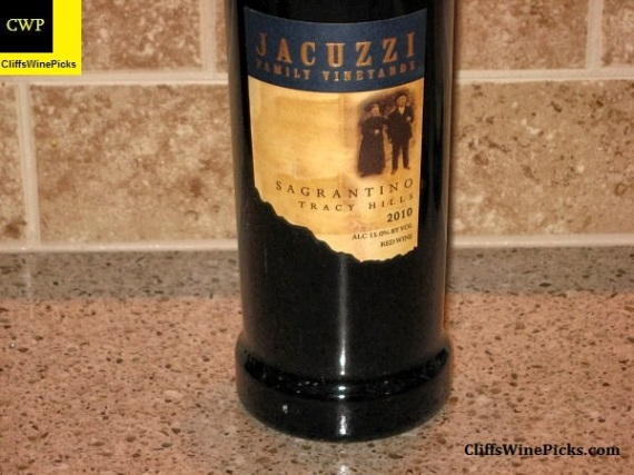 2010 Jacuzzi Family Vineyard Sagrantino Tracy Hills 2