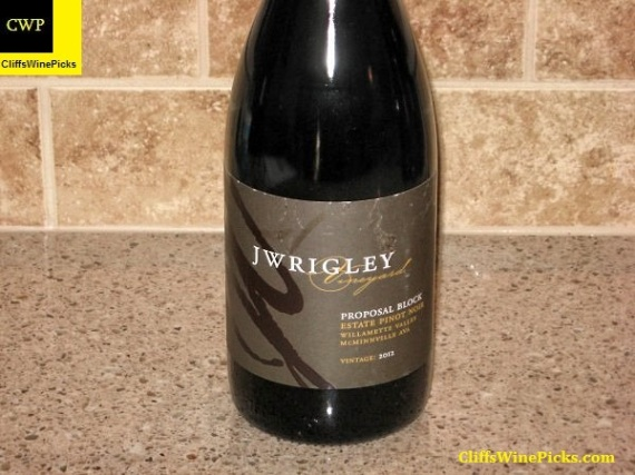 2012 J Wrigley Pinot Noir Proposal Block Estate