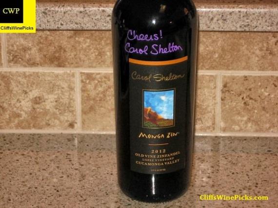 2012 Carol Shelton Wines Zinfandel Monga Zin Lopez Vineyard