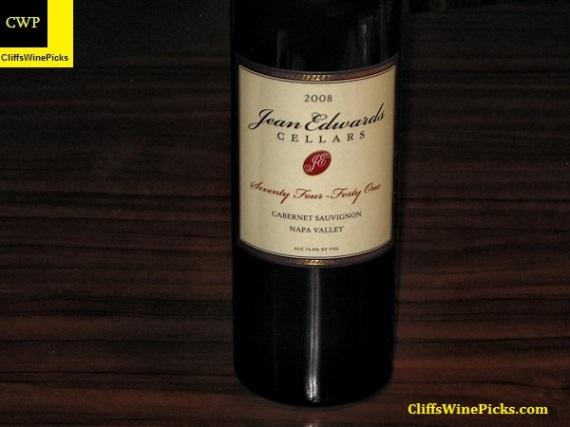 2008 Jean Edwards Cellars Cabernet Sauvignon Seventy Four - Forty One Napa Valley