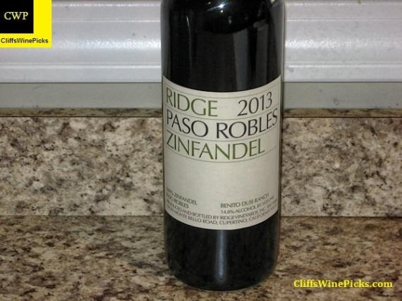 2013 Ridge Zinfandel Paso Robles