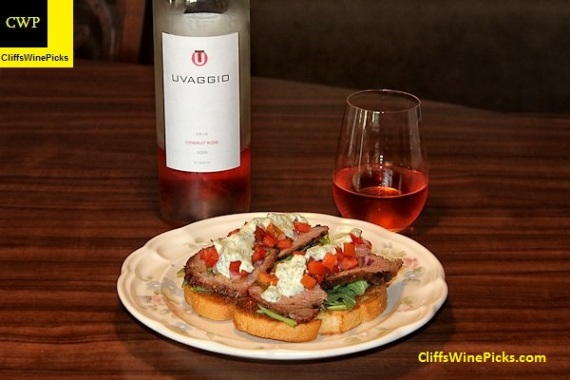 Steak Bruschetta with Uvaggio Cinsault Rose